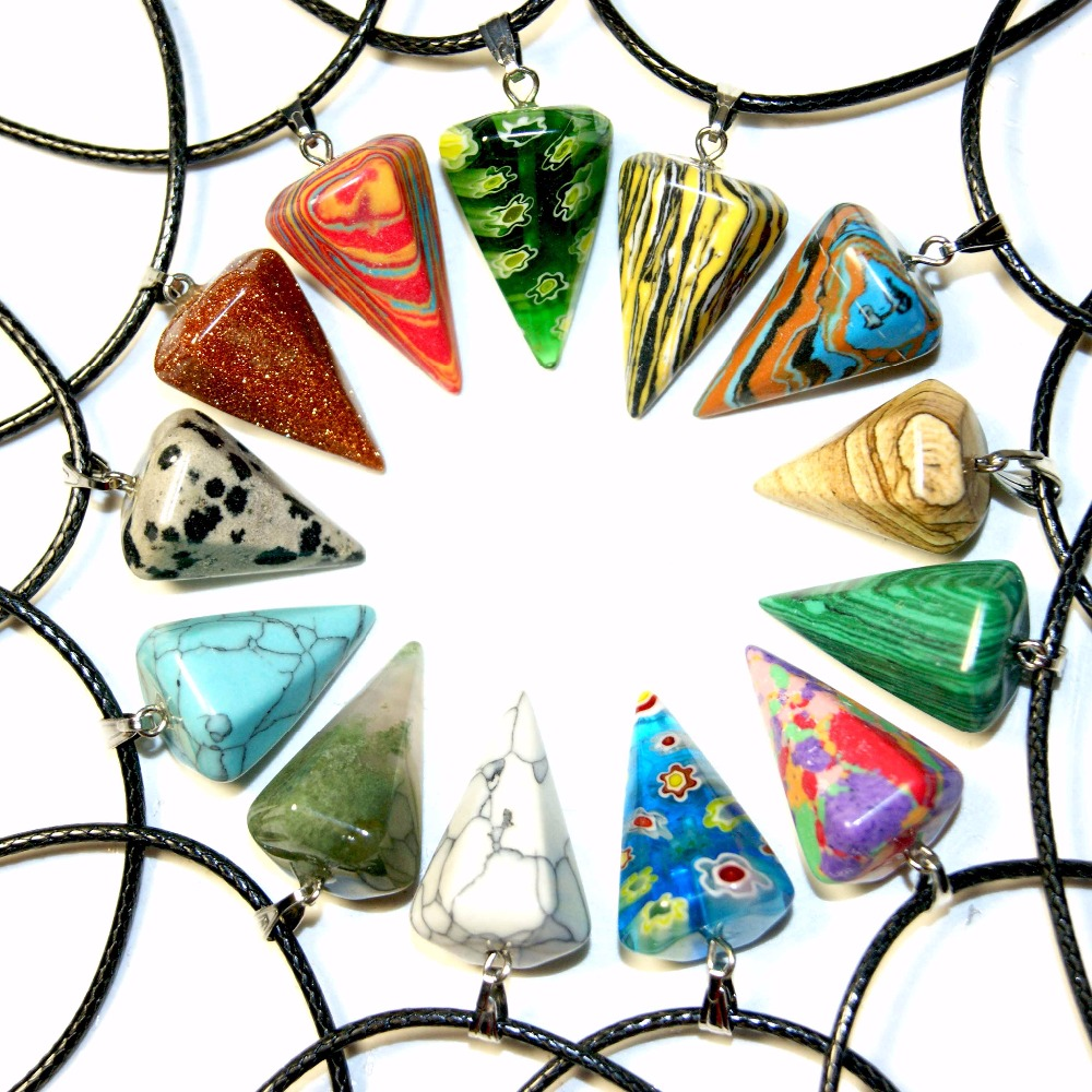 New Necklace Natural Stone Nice Pyramid Reiki Healing Pendulum Chakra Pendant Charm Opal Precious Sstone Necklace
