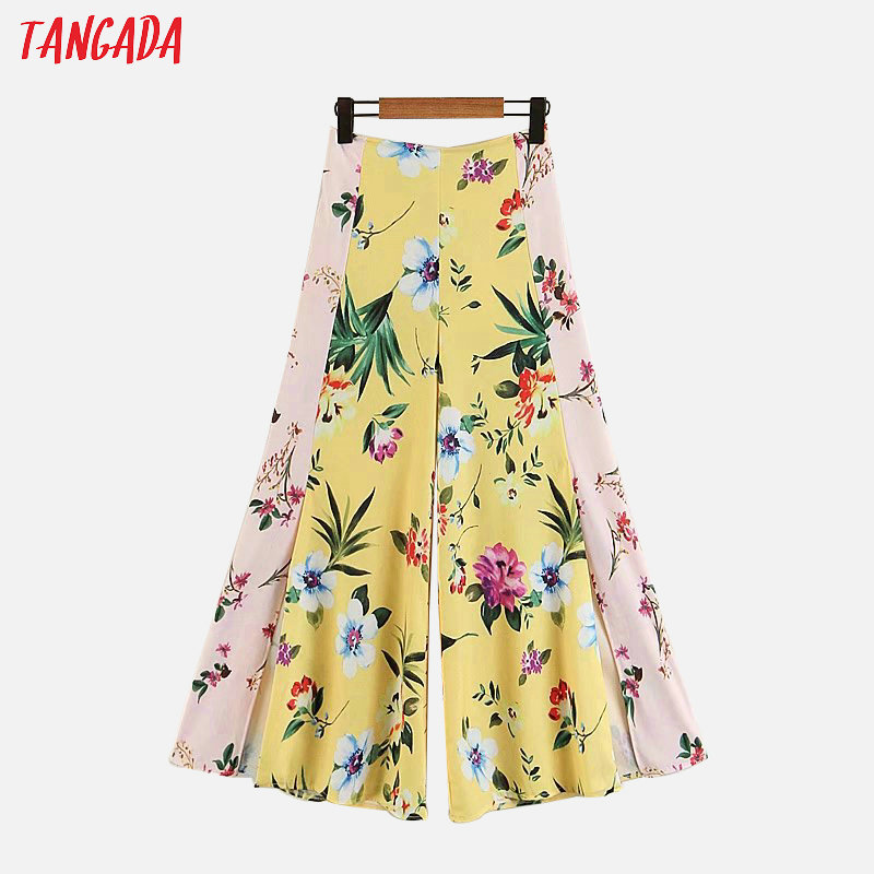 Tangada summer woman yellow   wide     leg     pants   patchwork Floral Print hem open retro female streetwear casual trousers mujer XZ94