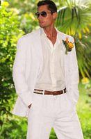 2018 New White Linen Men Suit Beach Groom Slim Fit 2 Piece Tuxedo Custom Prom Wedding Suits Blazer Terno Masuclino Jacket+Pant