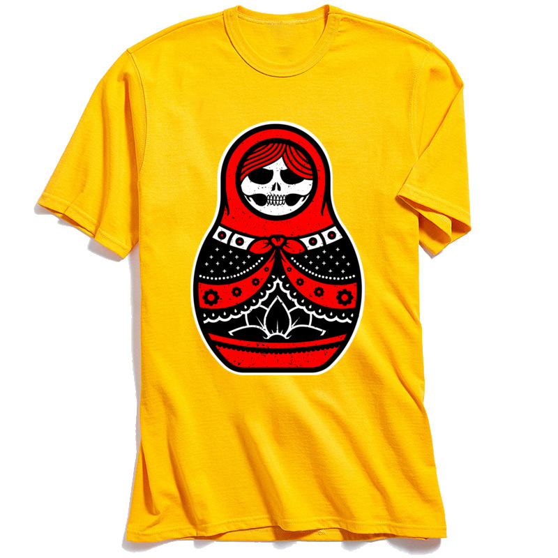 Tees Matryoshka Men Top T shirts Crazy T Shirts High Quality Father Day Coupons Tshirt Short Sleeve 100 Cotton Crew Neck Red in T Shirts from Men 39 s Clothing