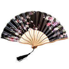 New Chinese Style Hand Held Folding Dance Fan Wedding Party Lace Silk Flower