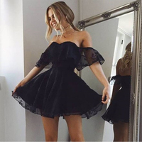 Bbonlinedress A Line Lace Homecoming Dress Off Shoulder Short Prom Dress Sweetheart Cocktail Dresses 2019 Robes de Homecoming