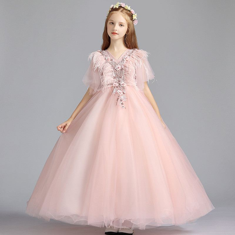 b19787aa1b 2019 Children Clothing Lace Princess Formal Dresses Kids Girl Bow ...