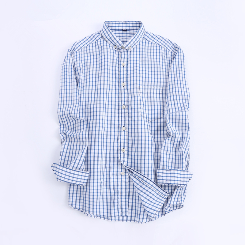 2017 Mens Light blue and White Small Plaid Dress Shirts Long Sleeve Breathable Cotton Button Down Casual Shirts camisa masculina
