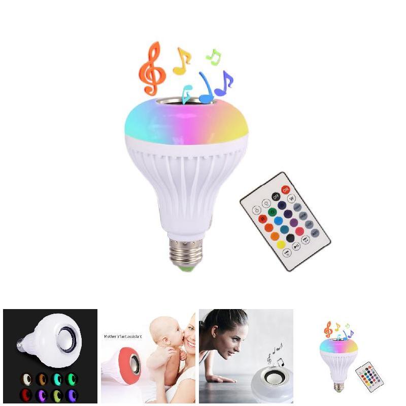 110-240 V E27 RGB inalámbrico Bluetooth altavoz música bulbo jugando dimmable LED música luz bombilla con 24 teclas Control remoto