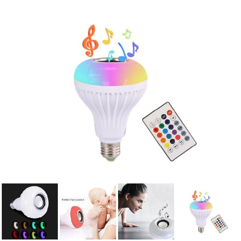 110-240V E27 RGB Wireless Bluetooth Speaker Bulb Music Playing Dimmable LED Music Light Lamp Bulb with 24 Keys Remote Control smuxi e27 led rgb wireless bluetooth speaker music smart light bulb 15w playing lamp remote control decor for ios android