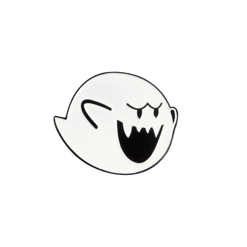 Kartun Lencana Kreatif Hantu Putih Bros untuk Wanita Super Mario Pin Perhiasan Enamel Pin Denim Jaket Kerah Lencana Pernak-pernik