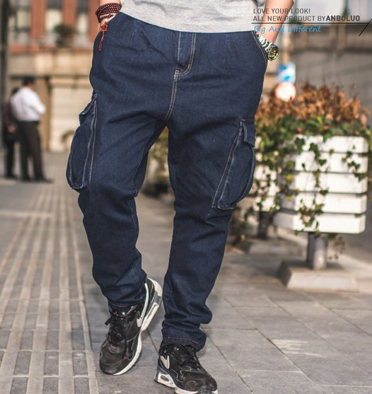 Plus Size Mens Baggy Hip Hop Jeans Skate Board Men's Jeans Pants Cargo Side Pockets Men Big and Tall Brand Clothing Size 44 46 plus size men cargo pants jeand blue side pocket hip hop designer baggy jeans mens loose fit casual trousers big size 44 46