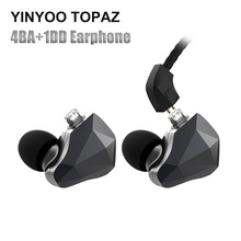 Yinyoo TopAZ 4BA+1DD 10MM Bio-Diaphragm Customized Alloy Dynamic Driver Hybrid Earphone Ear