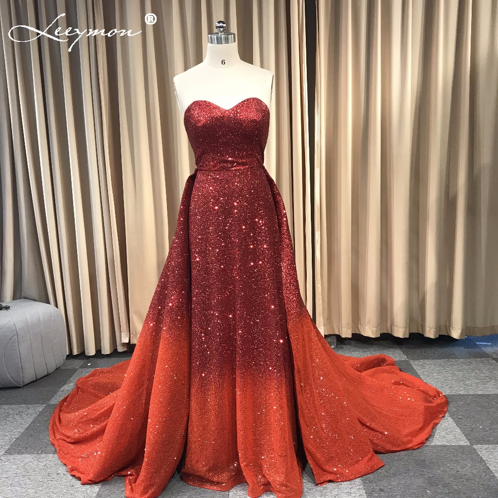 Gradient Color Glitter Sparkling Evening Dress with Detachable Train Strapless Wine Red Gown