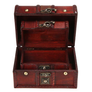 Storage-Box Wood Crate Treasure Chest Small Jewelry Crafts Vintage Household 2pcs