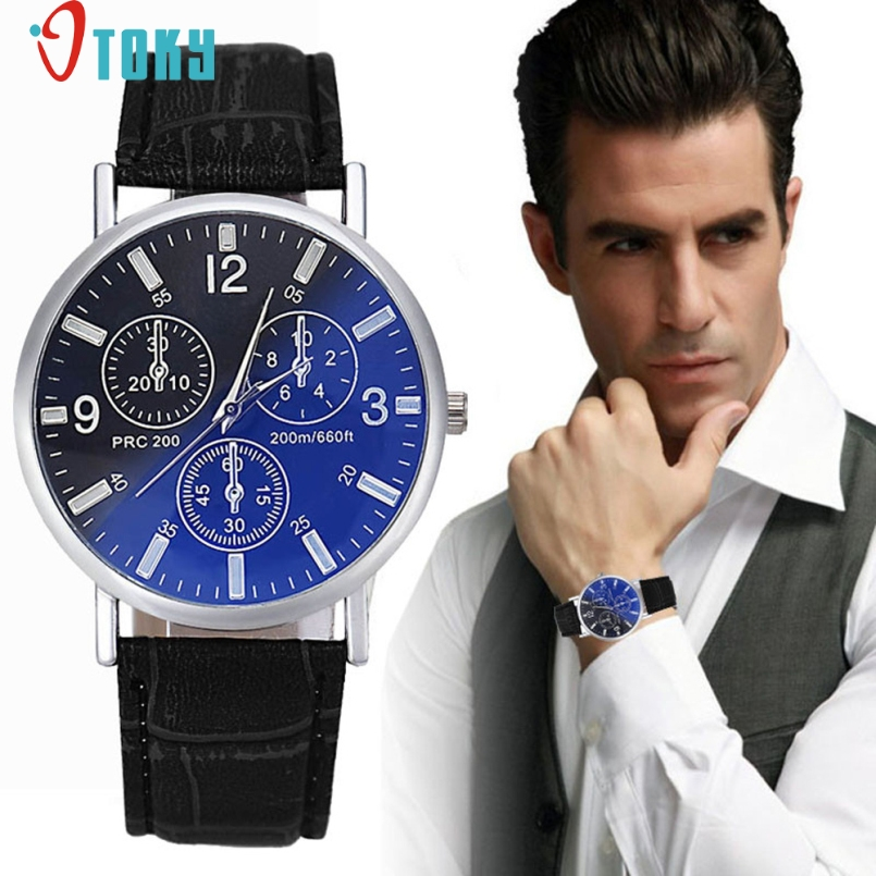 Excellent Quality OTOKY Relogio Masculino Fashion Leather Men Blue Ray Glass QuartzWatches Casual Cool Watch Brand Men Watches