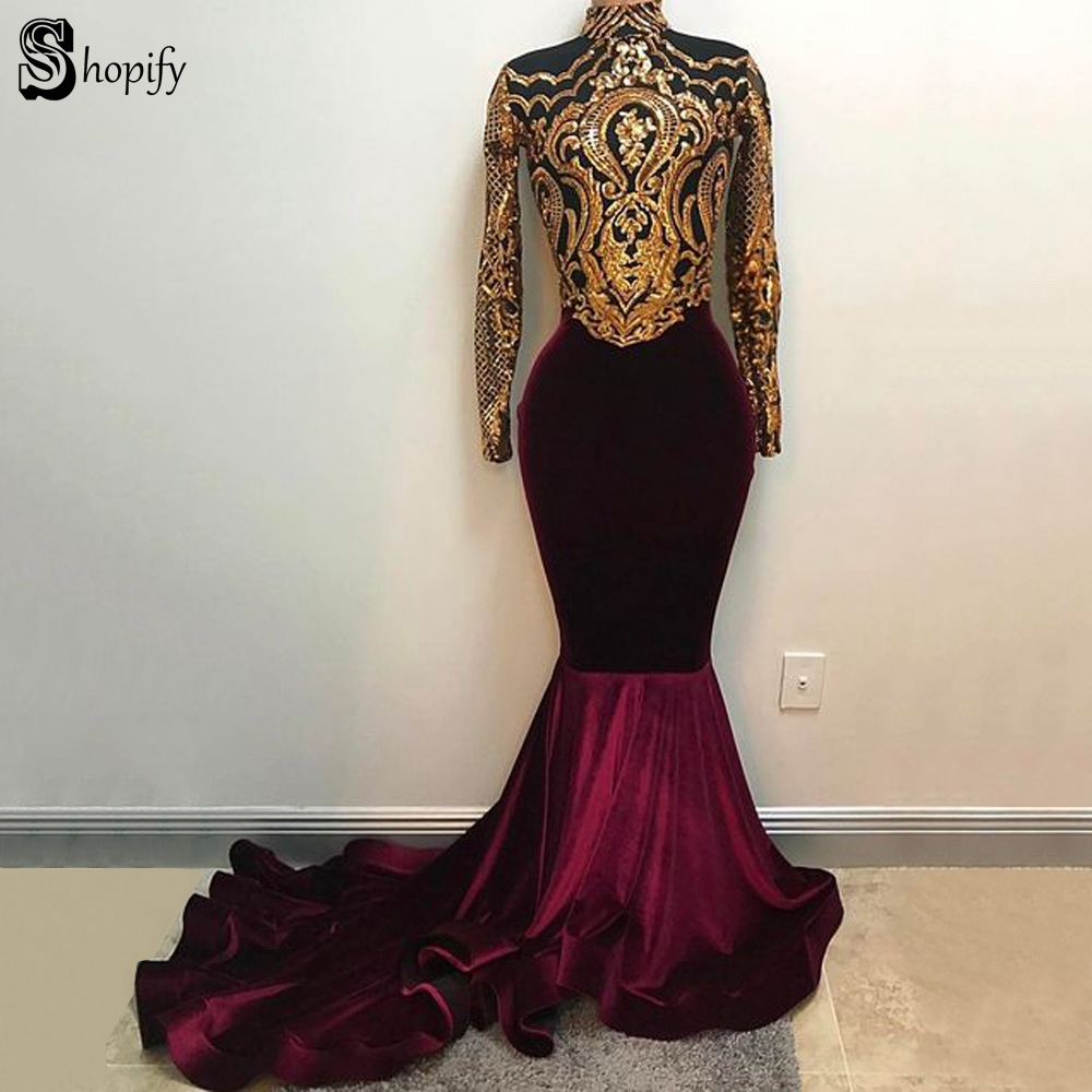 Long Elegant   Prom     Dresses   2019 Sheer Long Sleeve Gold Sequin Lace African Burgundy Mermaid Women Velvet   Prom     Dress
