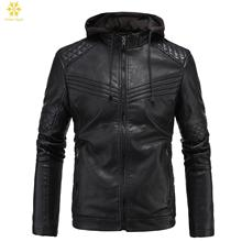 цена NEW Fashion Men's leather Hoodie Motorcycle Coats Jackets Hooded Washed Leather Coat XL XXL 3XL Blouson Moto Homme онлайн в 2017 году