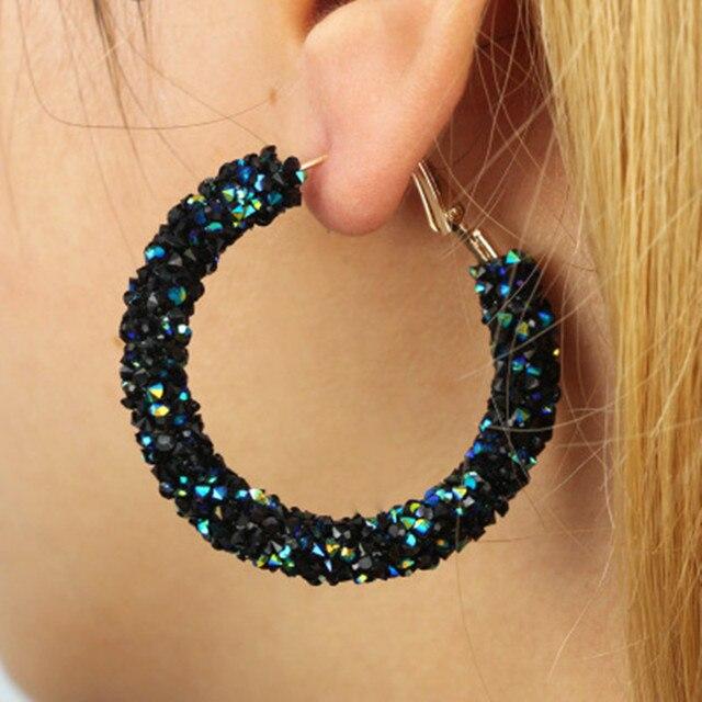 New Design Fashion Charm Crystal Hoop Earrings Geometric Round Shiny Rhinestone Big Earring Jewelry Women