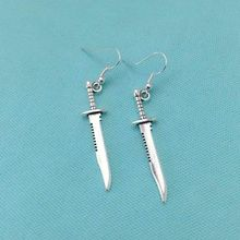 Supernatural inspiration Demons Killing Dagger Charm Dangle Silver Earrings Fashion Accessories Woman Holiday Gift NEW Jewelry
