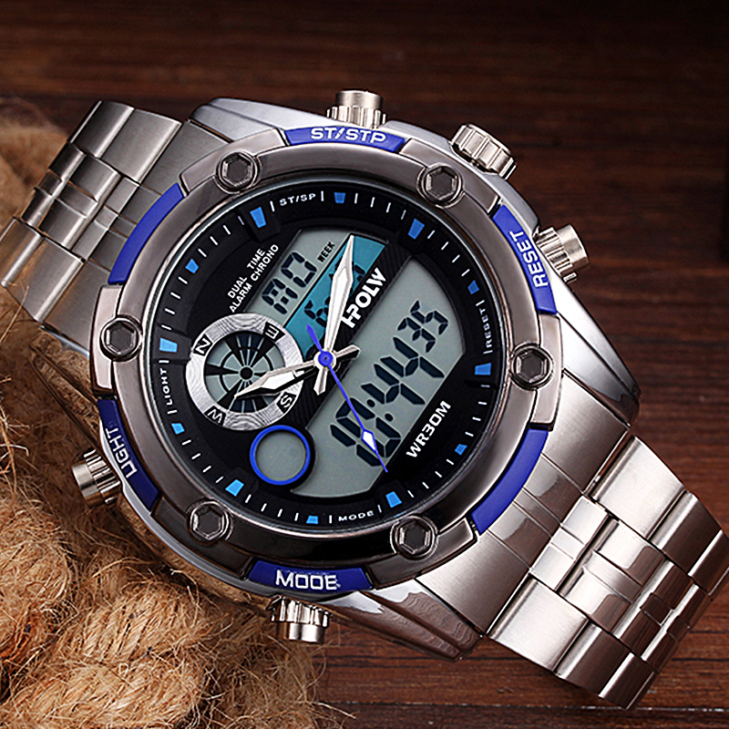 Man Military Waterproof Watch Relogio Masculino New Fashion Men Sports Watches HPOLW Men Quartz Analog LED Digital Clock womanizer pro