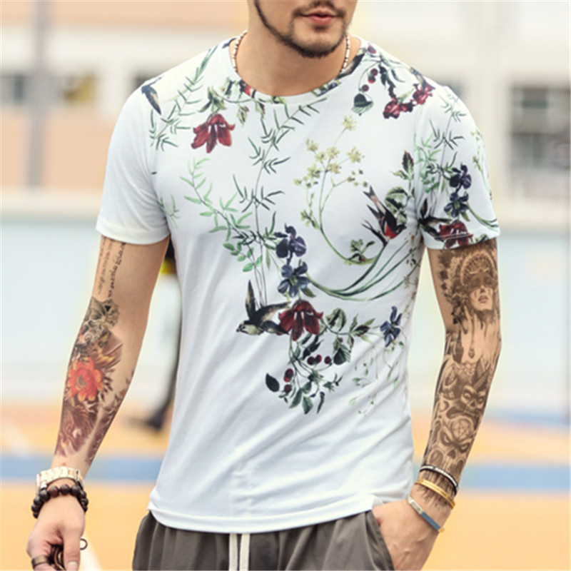 Fashion Printed Men S T Shirt Spring Summer 2017 New Casual Flower Printed Tops Tees Brand