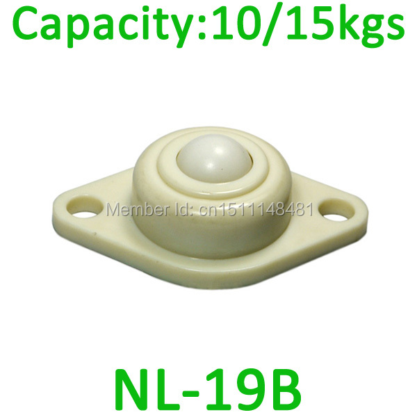 Free Shipping 5pcs POM NL-19B 15kgs load capacity Nylon Ball transfer unit NL19B full plastic ball and body Ball unit roller
