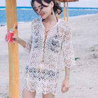 Perspective Cover Ups Skirt Beach Capes Dresses Women Sexy Lacing White Tie Up Lace Up Hollow Female Bikini Dress