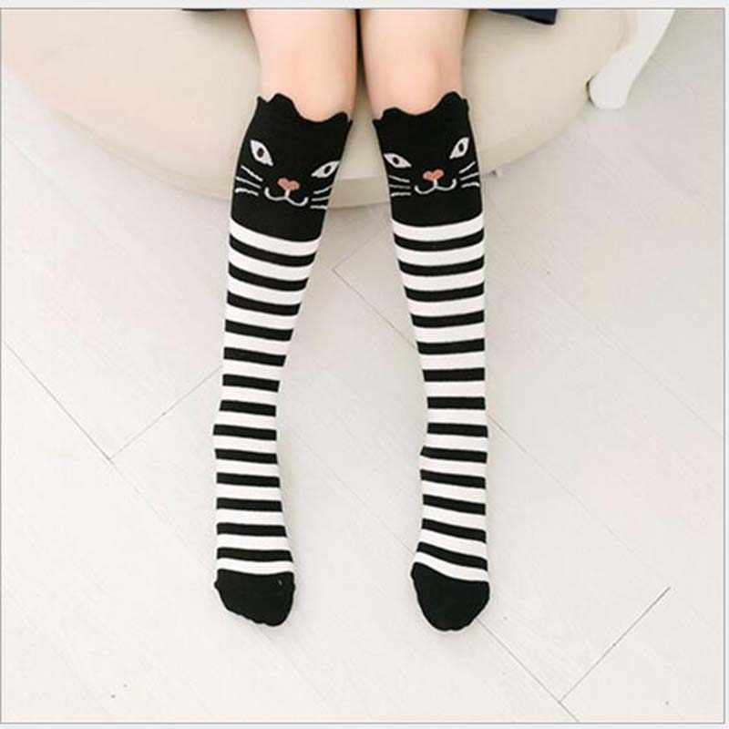 NIÑOS Calcetines de la rodilla niño niñas calcetines calentador de la pierna lindo gato/zorro negro de algodón de bebé calcetín para niñas de la escuela