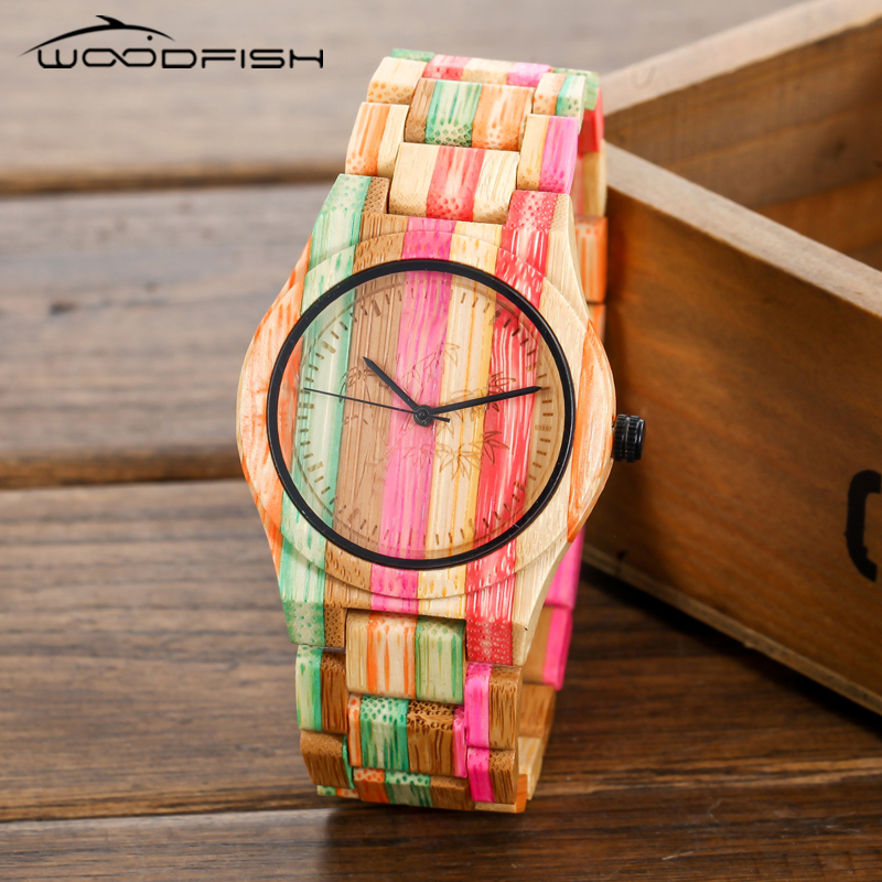 WOODFISH Bamboo Wood Watch Colorful Women Watches Rainbow Quartz Watch Natural Wooden Wristwatch with Bamboo Band relojes mujer 2016 sport women s watches slim quartz bamboo wooden analog wrist watch wood band wooden wristwatch for women wood as gifts