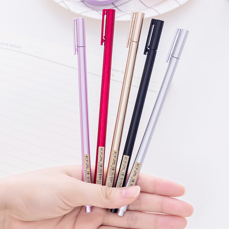 5 Pcs Wholesale Gel Pen Korea Stationery Creative Metal Handle Neutral Pen Water Pen 0.5mm Carbon Black Student Office Supplies