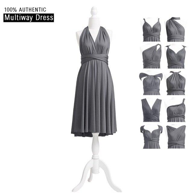 2be14234b72 Charcoal Grey Bridesmaid Dress Short Infinity Dress MultiWay Dress Dark  Grey Convertible Wrap Dress With Halter Style
