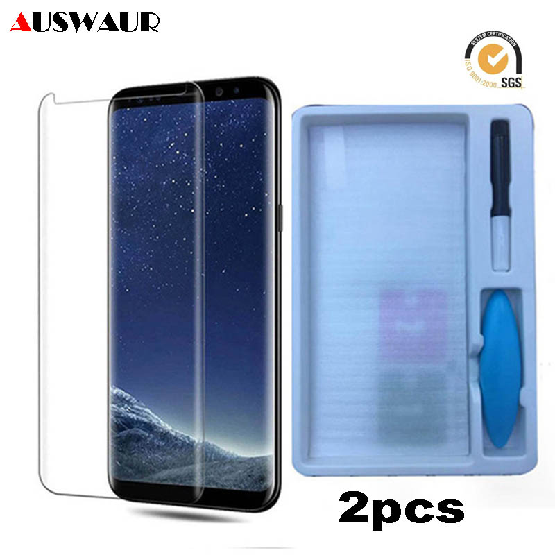 UV Light Glue Tempered Glass For Samsung Galaxy S6 S7 Edge S8 S9 S10 Plus 5G S10E Note 8 9 Grossy Liquid Glue Screen Protector image