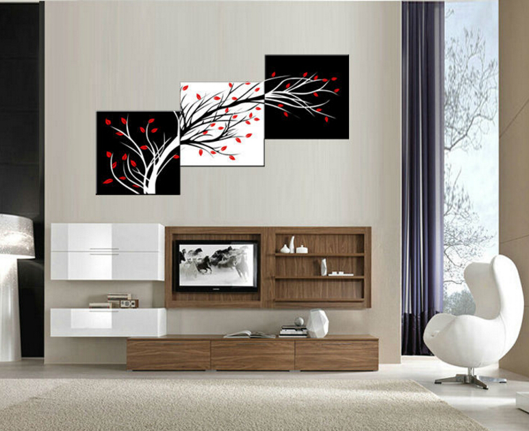 3 panel Free shipping Money tree Modern Wall Art Black and ...