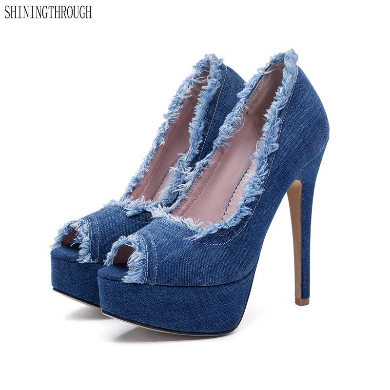 Plate-forme denim chaussures femme 12 CM talons hauts pompes Sexy femmes chaussures talons hauts mode mariage chaussures de mariée