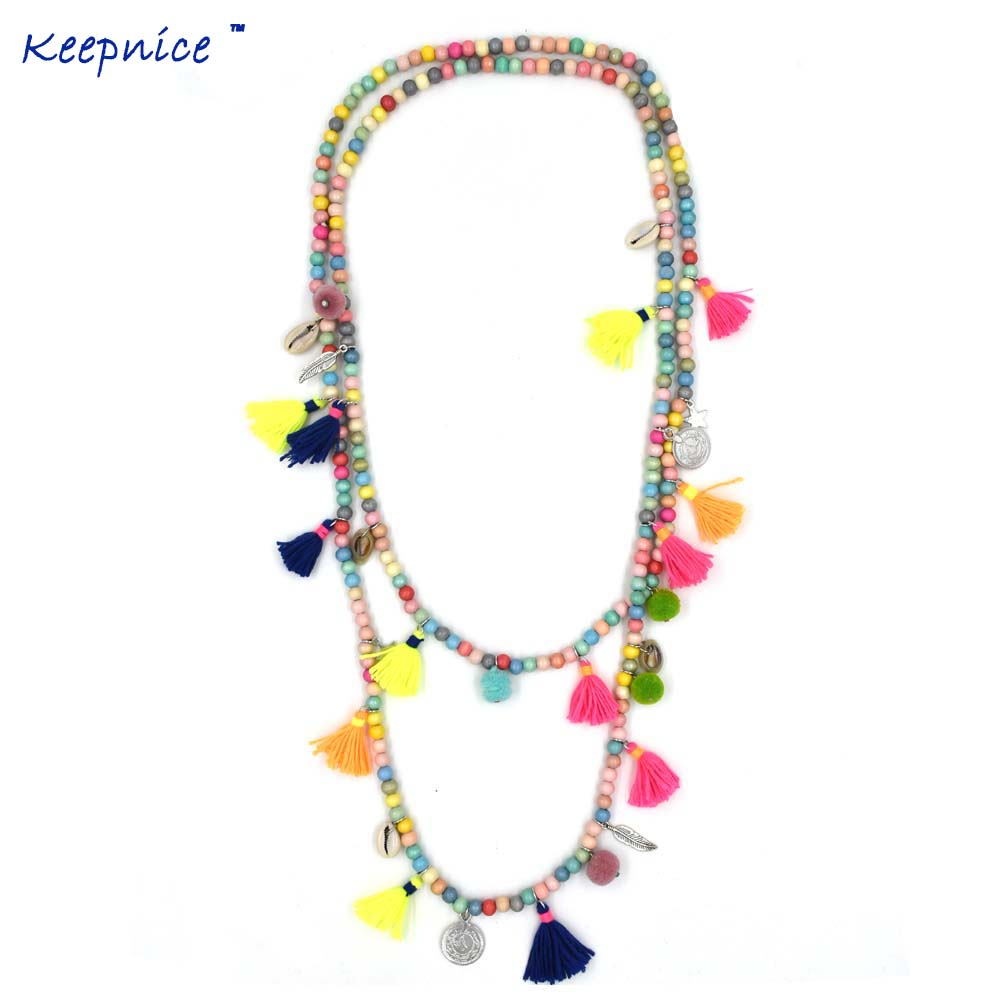 New Bohemia Boho Long Beaded Necklace Colorful Tassel Pendants Layered Long Necklace Multi-Layers Statement Necklaces
