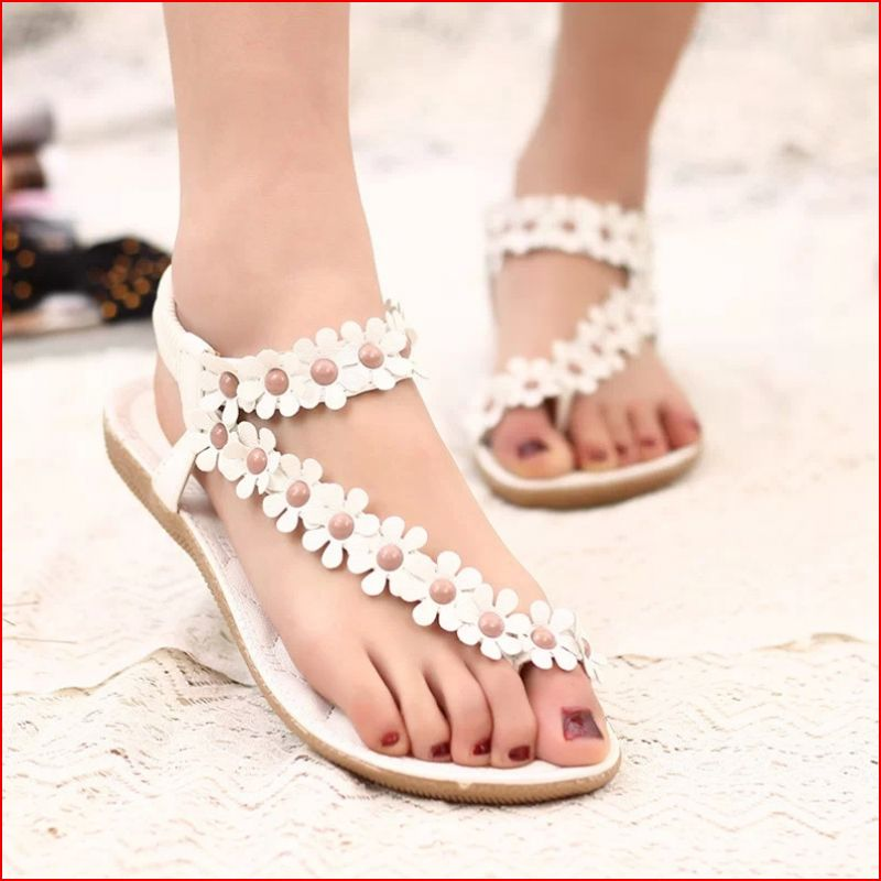 Xemonale Women Casual Shose 2017 Fashion Summer Women Sandals Shoes Flowers Beaded Beach Sandals