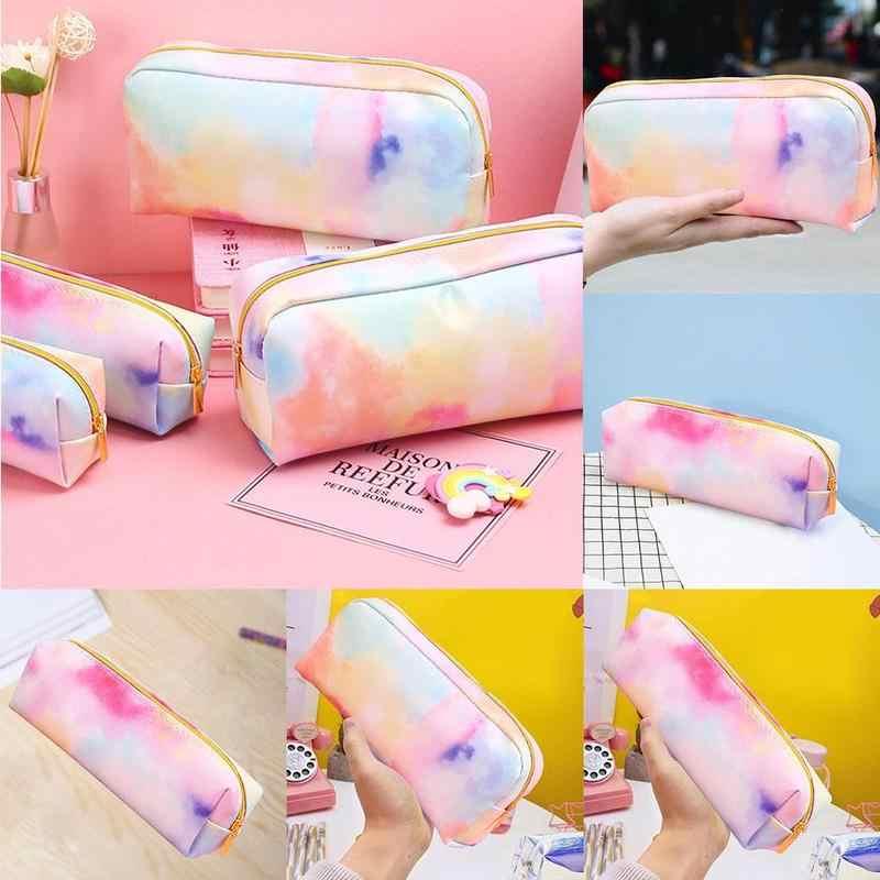Bolsa de lápiz de la serie colorida del sueño del corazón de la muchacha bolsa de papelería de la caja del lápiz colorido Kawaii suministros de la Escuela de papelería de regalo de maquillaje