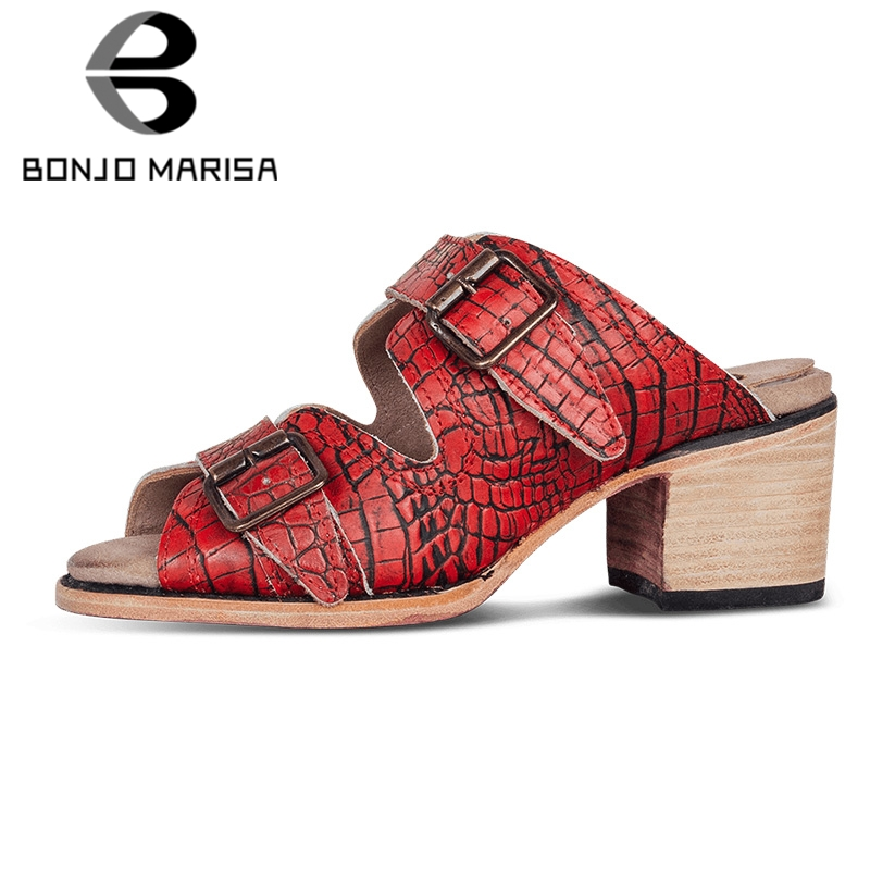 BONJOMARISA 2019 New INS Hot Retro Fretwork Mules Women Summer Plus Size 34-50 Slippers High Wide Heels Pumps Shoes Woman