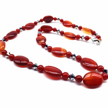 BEADZTALK Natural Red Carnelian Stone Beads Women Choker Necklace Fashion Jewelry 8 mm Beads Flat Oval Puff