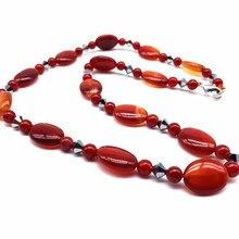 Natural Red Carnelian Stone Beads Women Choker Necklace Fashion Jewelry 8 mm Beads Flat Oval Puff 13x18 mm