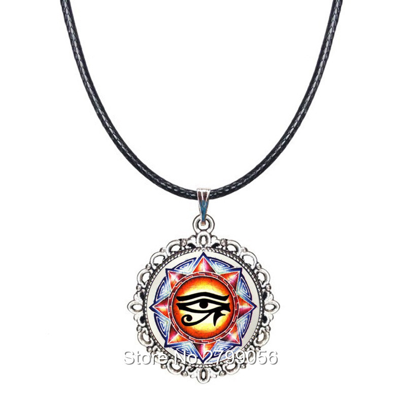 Ancient Egypt Choker Necklace Eye of Horus Ra Ankh Pendant Egyptian Hieroglyphic Amulet Jewelry Spiritual Collar Traveller Gifts
