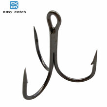 Easy Catch 100pcs 35647 Treble Fishing Hooks Black Small Round Bent Triple Hard Lure Spoon Fishhook Size 2 4 6 8 10 12 14