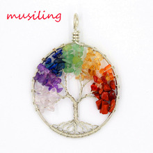 2016 New 7 Stone Pendant Various Natural Life Tree Pendulum Accessories European Fashion Jewelry 10pcs