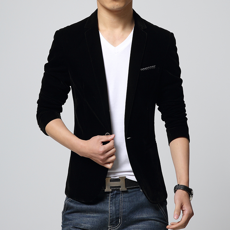 Mens Blazer Slim Fit Suit Jacket Black Navy Blue Velvet Spring ...