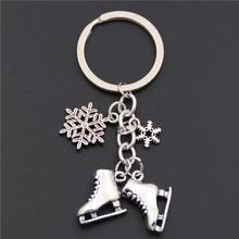 1 шт античные серебряные ледяные коньки Снежинка подвеска брелок для ключей Фигурное катание брелок ювелирные изделия для зимнего подарка