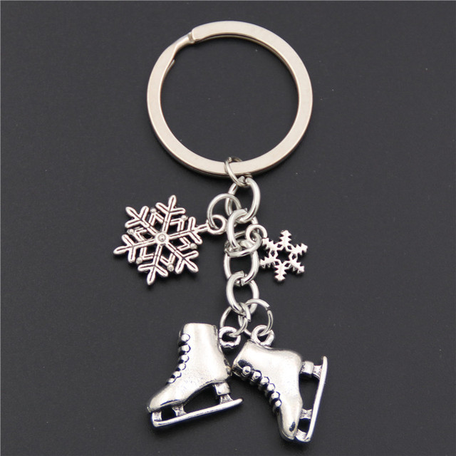 1pc Antique Silver Ice Skates Snowflake Pendant Key Ring Skating Key Chain Keychain Jewelry For Winter Gift