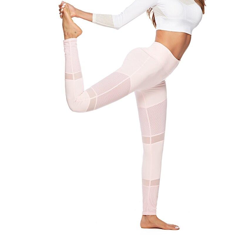 Workout Pink   Leggings   Women Autumn Comfortable Mesh   Legging   Stitching Hollow Slim Push Up Fitness Ladies   Leggings
