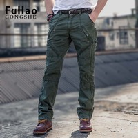 FuHao 2017 New Men Cargo Pants Army Green Grey Big Pockets Decoration Casual Easy Wash Male