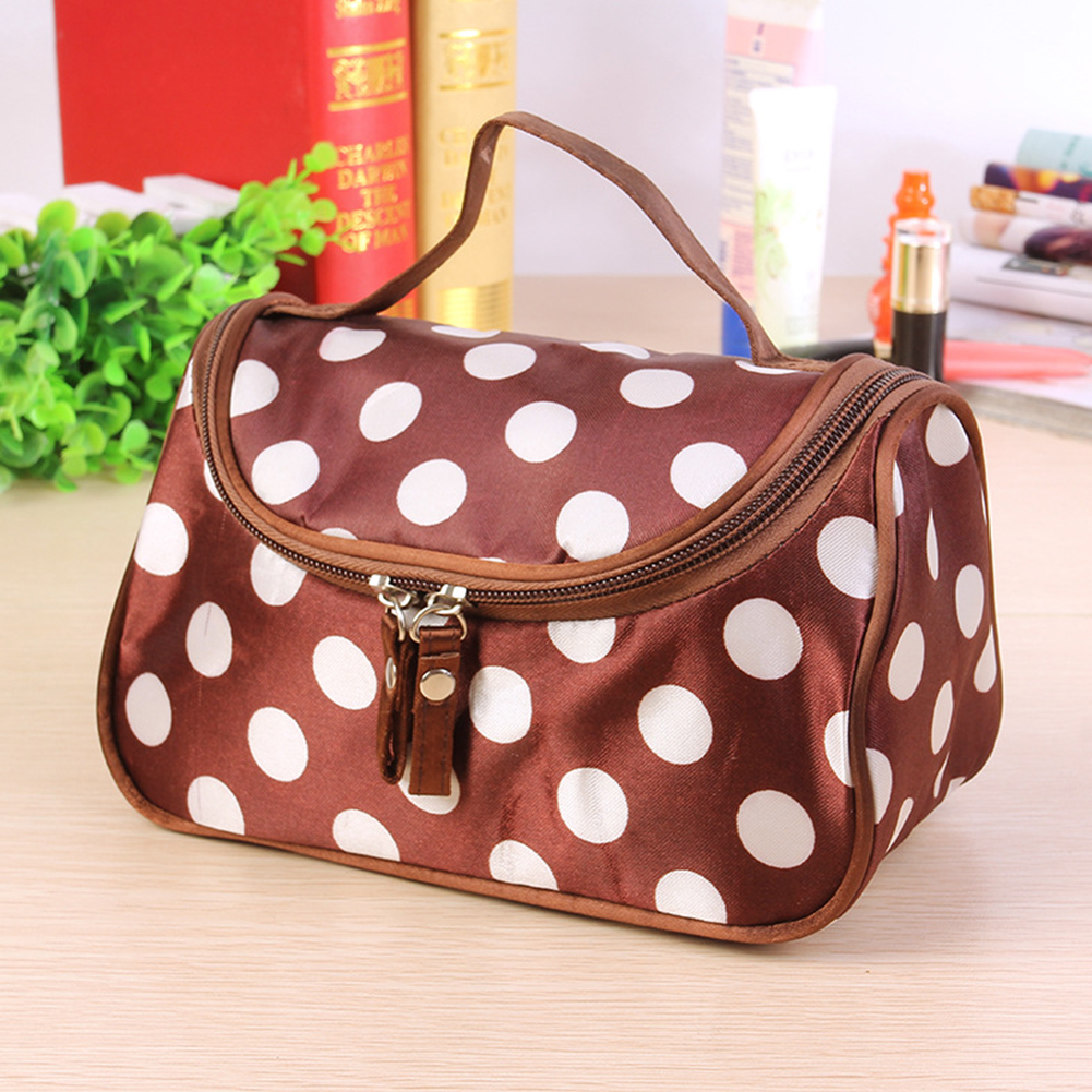 Portable Double Zipper Cute Women Polka Dot Organizer Fashion Make Up Toiletry Cosmetic Bag Travel Storage Durable Waterproof(China)