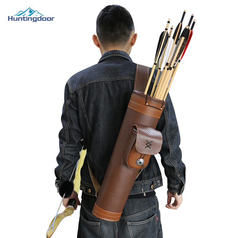 High Quality Archery Arrow Quiver Arrows Quiver Horse Hunting Bag Cowhide Arrow Quiver Bag for Archery Hunting Shooting цена