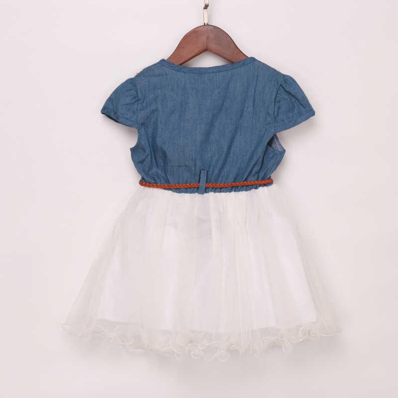 a045ab4b607 ... Модное детское платье-пачка принцессы из джинсовой ткани с цветочным  кружевом и фатиновой юбкой для ...
