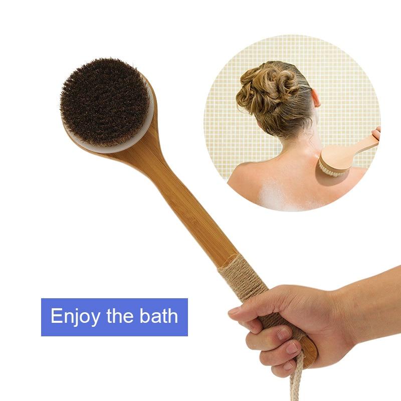 Hot Sale Shower Brush With Long Bamboo Wood Handle Back Scrubber Spa Exfoliator Bath Body Massage Brushes