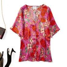Women Shirt 2019 Silk Material Bright Flower Print V-neck Shirt flower print shirt